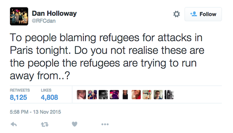 To people blaming refugees for attacks in Paris tonight.