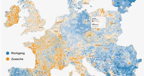 Interaktive Karte: Wo Europa schrumpft - und wächst