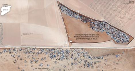 Wie aus Syrien fliehen: Beeindruckende Satellitenbilder von der Grenze